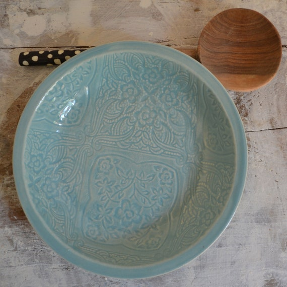 Turquoise Bowl - medium handmade bowl - Wobbly Plates Series