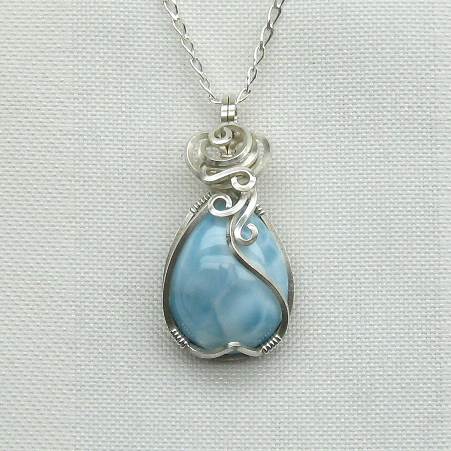 larimar necklace larimar pendant sterling silver larimar