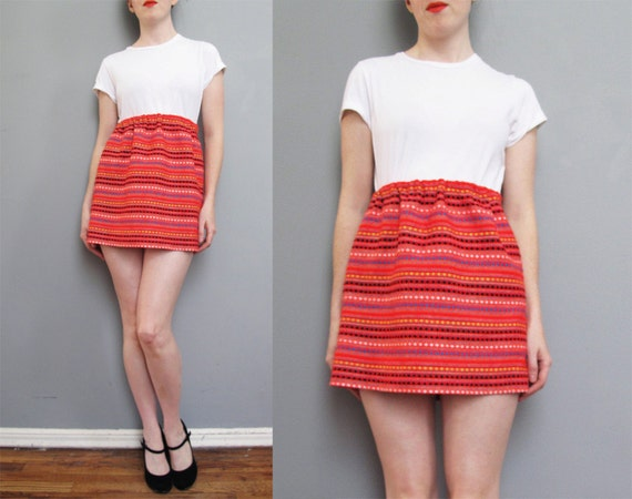 vintage RED ethnic striped MINI skirt XS S