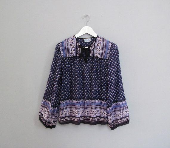 vintage INDIAN COTTON violet hippie blouse S M
