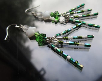 SALE now half price starburst earrings with petrol green bugle beads, white stars and green glass chips