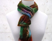 RESERVED FOR SHARON - Spring & Autumn - Hand painted silk velvet scarf - sale