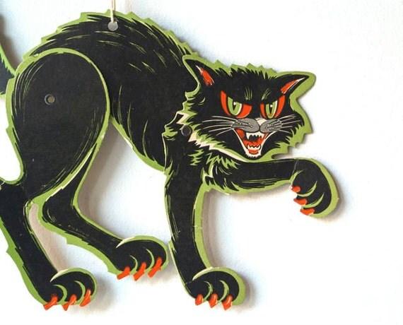 Vintage Die Cut Halloween Scratch Cat Decoration, Beistle Company Halloween Decoration