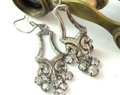 Elegant Romance OOAK Earrings Vintage Style Crystals Exclusive Design By Mystic Pieces