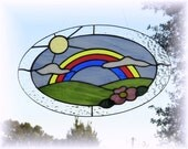 Rainbow Meadow Stained Glass Panel