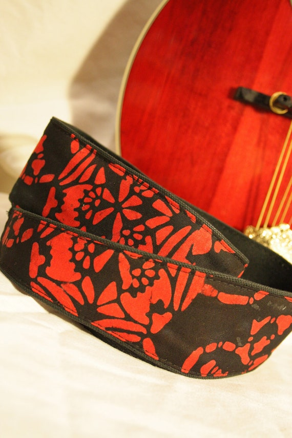 Vegan Mandolin Strap- Celtic Red- Astyle or Fstyle