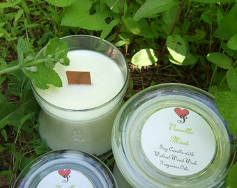 VANILLA MINT Wooden Wick SOY Candle