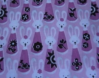 Hand Printed Cute Bunny Rabbit Cotton Fabric lilac