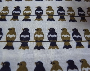Army Birds On a Wire - hand printed cotton fabric - Half yard