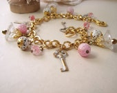 Pink Cottage shabby charm bracelet with vintage beads