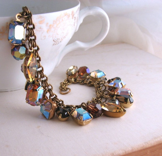Starlight and Topaz autumn charm bracelet with vintage rhinestones