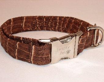 Stylish Alligator Print Dog Collar by Swanky Pet