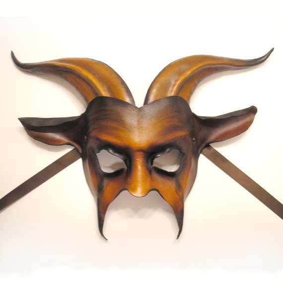 Leather Goat Mask in Brown and Black READY TO SHIP