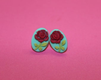Tiny Hot Pink Flower Cameo Earrings