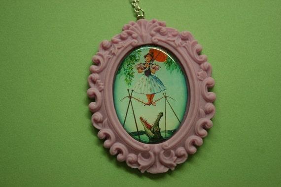 Daisy De La Cruz Cameo Necklace in Lavender Resin Setting