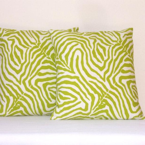 "Lime Green Pillow Covers Indoor Outdoor 18"" x 18"" Decorative Accent Pillow Covers Set of Two"