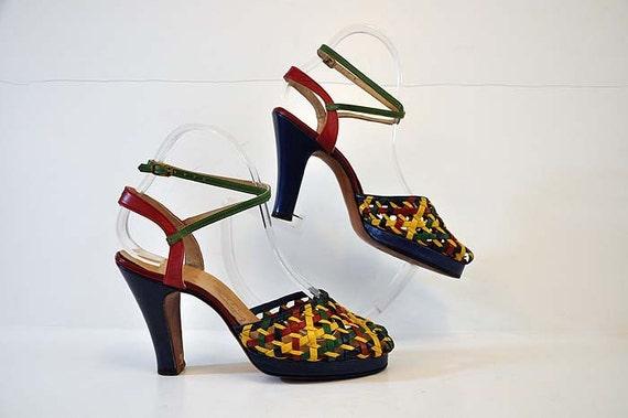 40s shoes / Vintage 1940's Peep Toe Braided Ankle Wrap Strap Platform Shoes