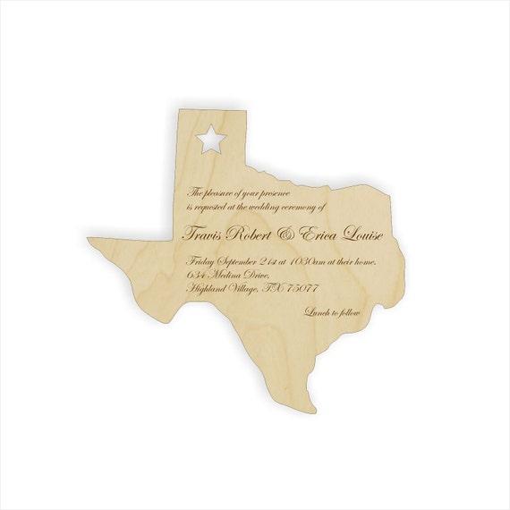 25 custom wood Texas shaped wedding invitations for Erica