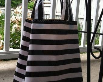 Beth's Black Stripes Oilcloth Market  Sac Tote Bag