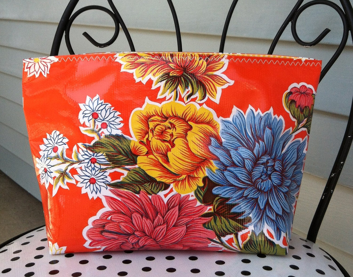 Beth s large orange mum oilcloth cosmetic bag by bethsmarketbags