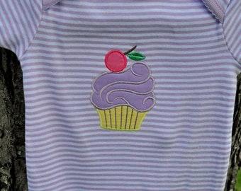 Cute as a cupcake - baby onesie or child's Tshirt with cupcake appliqued on the front - child's name can be monogrammed on the front