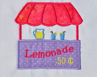 Summer Tshirt with lemonade stand - name monogram available