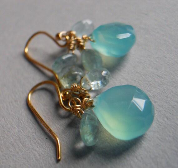 Aqualicious chalcedony and aquamarine earrrings