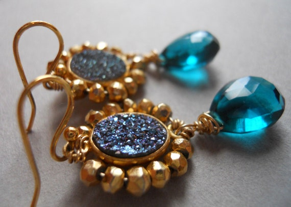 Items similar to Lido wrapped Druzy Pyrite and Aqua quartz earrings on Etsy