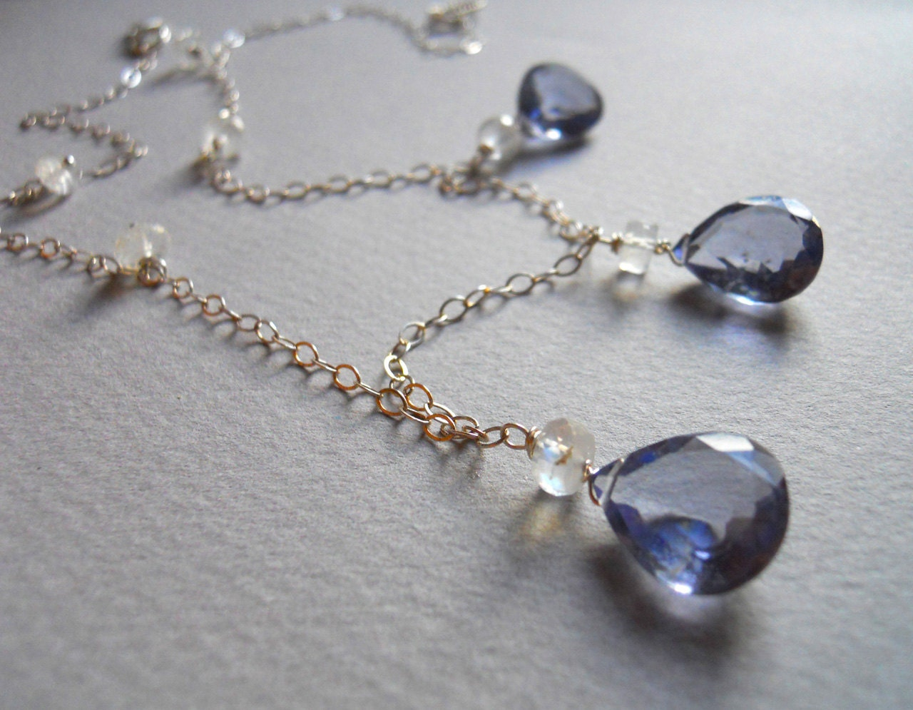 SALE was 122 now 98 Silvery Moon Necklace Moonstone and Rare Ceylon AAA blue quartz - $98.00 USD