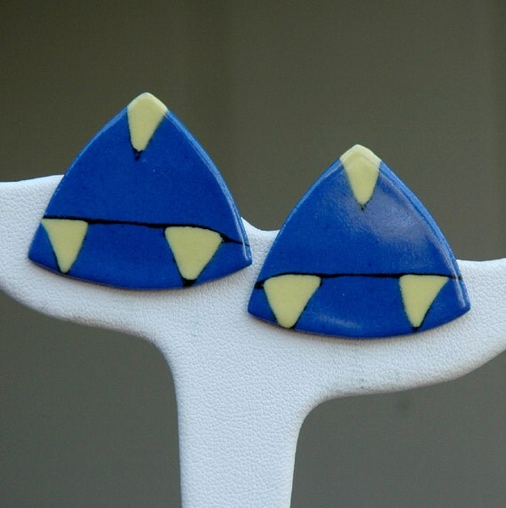 Vintage Blue and Yellow Porcelain Triangle Earrings