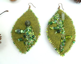 Fiber art felt earrings, GREEN LEAF II, bead embroidery, hand stitched, bohemian , Coachella, statement, eco friendly
