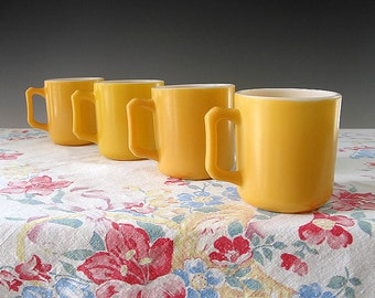 Vintage Hazel Atlas Childs Cups Platonite Mugs Milk Glass Fired On Yellow Enamel 1950s