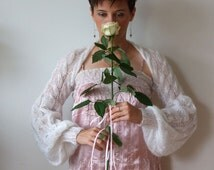 Wedding shrug bridal shrug white with irridescent sparkles light as a whisper long puffy sleeves, hand knitted bolero