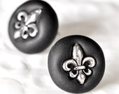 Fleur De Lis Earrings French Mardi Gras Pierced/Post Surgical Stainless Steel Studs in Black Polymer Clay