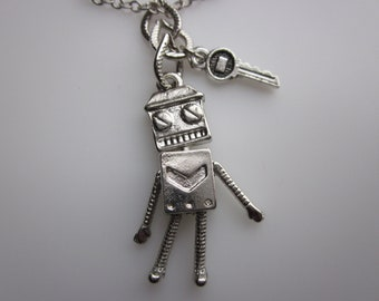 Robot Necklace, Geeky Robot Charm, Moveable Robot Pendant, Silver Robot Charm, Robot with Key Necklace
