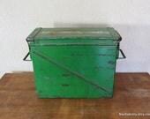1950s Emergency Kit Ammo Box | Large Green Metal Storage