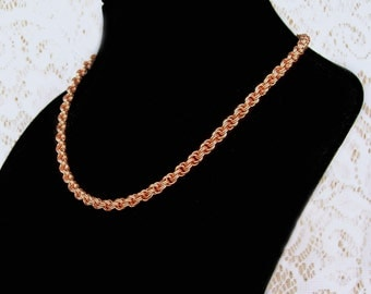 Copper Chainmaille Necklace, Double Spiral