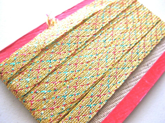 6 Yards Vintage Indian Gold Metallic Ribbon - Gold Red and Green