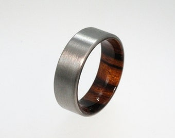 Mens Titanium Band, Ironwood Sleeve , Waterproof Wooden Sleeve, Ring ...