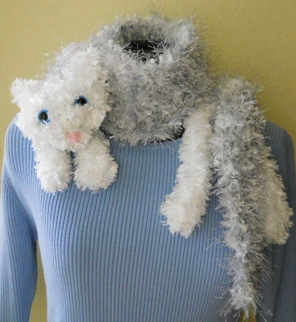 Cat Coat Knitting Pattern : Snuggle cat scarf digital knitting pattern