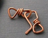 Handmade Square Copper Clasp, Artisan 18 gauge Hook and Eye - Made in USA