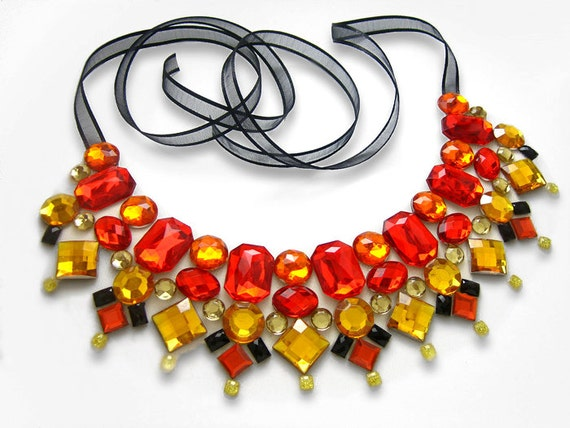 Red Statement Collar Necklace, Rhinestone Burlesque Necklace, Rhinestone Collar Statement, Fire Necklace, Red and Orange Necklace