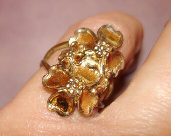 vintage Beau art nouveau style sterling silver dogwood flowers ring