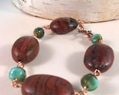 RED POPPY Jasper Bracelet, Earthy Rustic Natural Stone, Urban Chic Bohemian, Handcrafted Jewelry by SusanHeleneDesigns