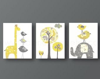 Kids wall art nursery art print baby nursery decor nursery print yellow gray elephant giraffe bird Tree Set of three prints