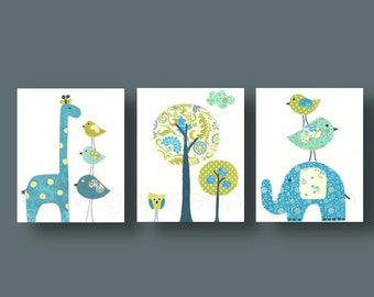 Elephant nursery art Giraffe nursery Baby Boy Nursery Decor Blue green nursery Kids Wall Art  baby nursery decor Bird - Set of three prints