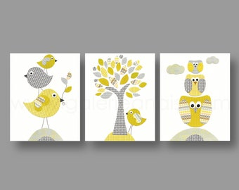Children's art - baby nursery decor - nursery wall art - bird - kids art - owl - yellow - gray - tree - Set of 3 Prints