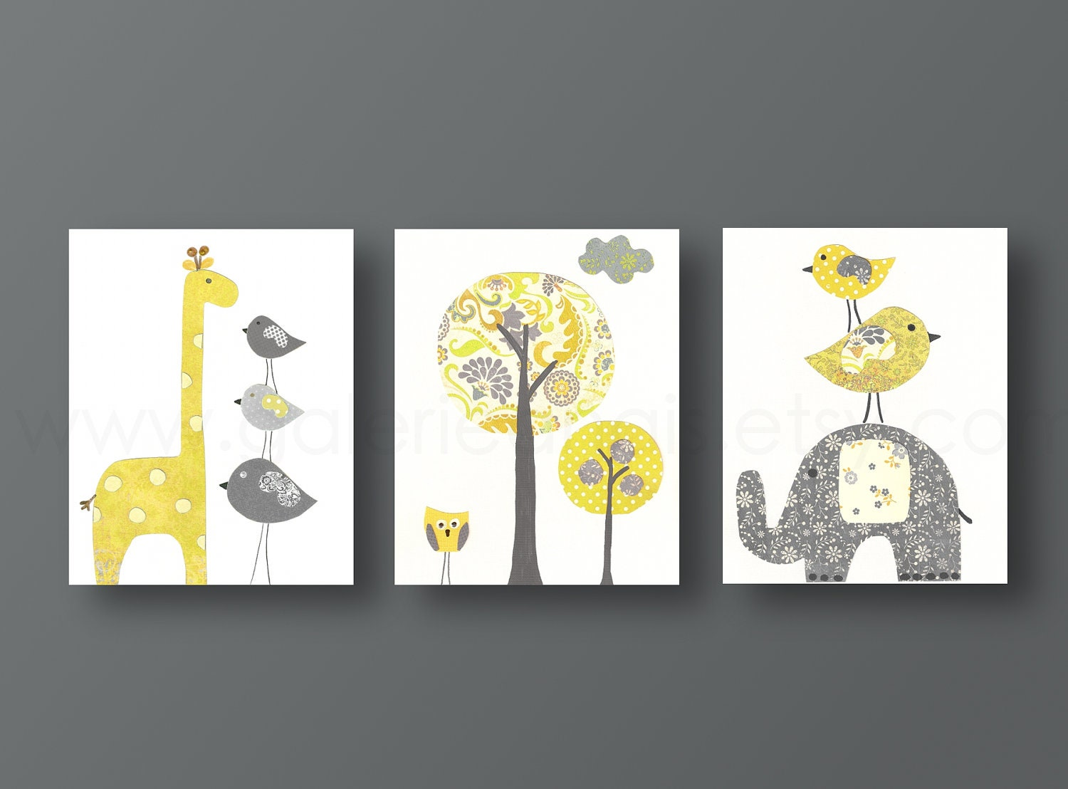 Yellow gray nursery art baby nursery decor kids wall art baby for Baby room wall decoration