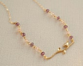 Raspberry Glass and Gold Bird Pendant Necklace