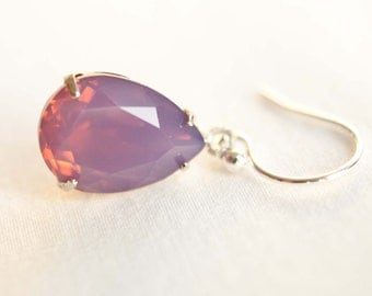 Cyclamen Opal Teardrop Swarovski Earrings